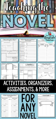 Novel teaching and novel study resources for any novel. This resource is filled with assignments, activities, organizers, and more. Teaching novels for secondary ELA students. Middle School Novels, Middle School Reading, Middle School English, Secondary School English, 9th Grade English, Teaching Literature, Teaching Reading, Teaching Themes, Teaching Ideas