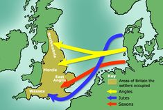 This map point out the Germanic tribes that came to England in a very easy to understand way. The English language is heavily influenced by the native languages of these tribes. Anglo Saxon History, European History, British History, Ancient History, Asian History, Tudor History, Ancient Aliens, English People, Old English