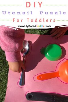 This simple DIY Utensil Puzzle is a great way to familiarise your toddler with some tools of the trade in a way that is a little left of centre. #toddler #toddlercrafts #myboredtoddler Activities For 2 Year Olds, Fun Activities For Toddlers, Preschool Activities, Toddler Crafts, Toddler Play, Crafts For Kids, Skills To Learn, Play To Learn, Play Based Learning