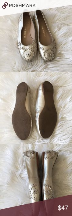 Jack Rogers Flats Champagne metallic flats in good preowned condition has slight wear as shown on the last 2 pictures. No other flaws Jack Rogers Shoes Flats & Loafers