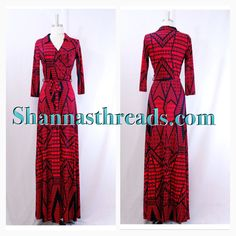 Red & Navy Faux wrap maxi dress with collar!! Order at Shannasthreads.com