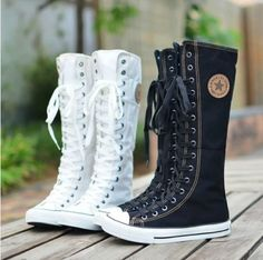 Women Girl PUNK EMO GOTHIC Shoes Sneaker Zip Lace Up Canvas Boots Knee High Size | eBay