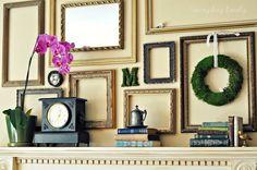everyday lovely: framed spring mantel