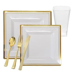 Square White Plastic Plates with Gold Rim Dinnerware Set for 60 Guests (360 piece total) (60)