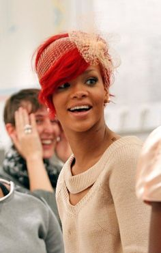Rihannas chic, red hairstyle