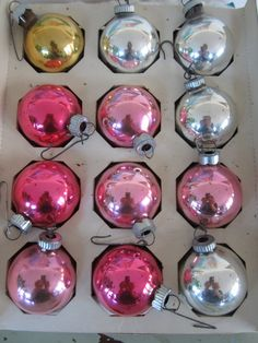 Vintage Mercury Glass Ornaments One Dozen in Original by myfancies