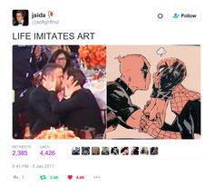 Jaida tweet - Ryan Reynolds and Andrew Garfield kissing at the 2016 Golden Globes