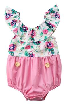 df0ffea9739 Pink Floral Button Baby Girl Summer Romper