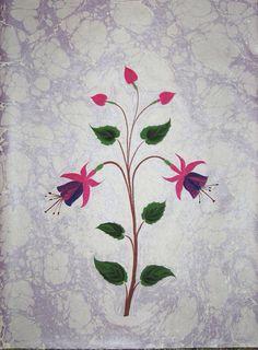 Ebru Turkish marbled paper, fuschia flowers