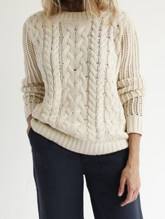 Frame Denim Le Mix Cable Sweater - Natural