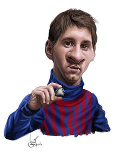 """Title: """"La dejé chiquita así"""" Illustration of Messi by our fetish artist: Luis Gaspardo Funny Caricatures, Celebrity Caricatures, Cartoon Faces, Funny Faces, Lionel Messi, Samantha Pics, Caricature Drawing, Soccer Stars, Mo S"""