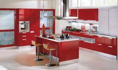 Red And White Italian Kitchen Cabinet Design Id500 - Modern Italian Style Kitchen Designs - Kitchen Designs - Interior Design