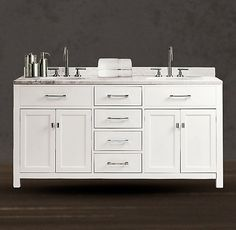 Vanity shape reference for custom Hutton Double Vanity Sink White -Restoration Hardware Bathroom Renos, Bathroom Renovations, Bathroom Ideas, Bathroom Cabinets, Upstairs Bathrooms, Master Bathroom, Restoration Hardware Bathroom, Timeless Bathroom, Jack And Jill Bathroom