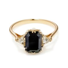 Black Diamond Bea engagement ring 14k gold unique, alternative ceremonial jewelry – Anna Sheffield