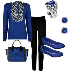 """Royal Blue and Black Fall outfit...Angel Ring inspired"" by colorado-kim on Polyvore"
