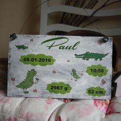 Shabby Chic Holzschild - Geburts-Schild Krokodil