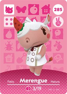 Merengue - Nintendo Animal Crossing Happy Home Designer Amiibo Card - Animal Crossing Happy Home Designer amiibo card from Series 3 Animal Crossing Qr, Animal Crossing Amiibo Cards, Animal Crossing Villagers, Acnl Villagers, Nintendo 3ds, Nintendo Switch, Motif Acnl, Ac New Leaf, Candy House