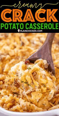 Creamy Crack Potatoes - Plain Chicken - Creamy Crack Potatoes – creamy potatoes loaded with cheddar, bacon and ranch! Twice Baked Potatoes Casserole, Potatoe Casserole Recipes, Crack Potatoes Recipe, Baked Mashed Potatoes, Best Potato Recipes, Breakfast Potato Casserole, Cheesy Hashbrown Casserole, Leftover Mashed Potatoes, Chana Masala