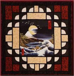 Quilt Inspiration: Japanese quilts.  Like how the borders accent the center.