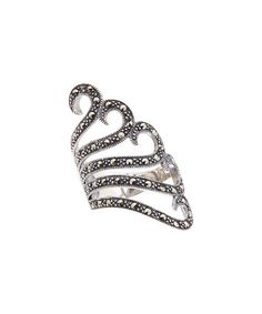 Look at this #zulilyfind! Marcasite & Sterling Silver Curved Five-Line Ring #zulilyfinds