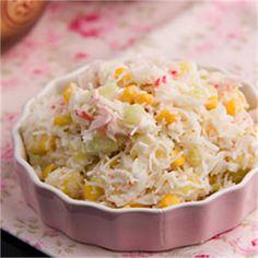Sałatka z paluszkami krabowymi Grains, Rice, Food, Essen, Meals, Seeds, Yemek, Laughter, Jim Rice