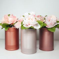 Brand New Trending Painted Tin Cans-Wedding by VintageBloomsJarCo