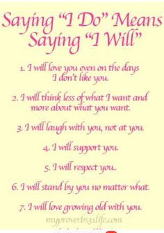 Saying i do means saying i will