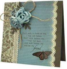 Pretty Friendship Card...love the paper punched edging, colors & blue flowers...Kaiser Card.