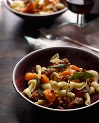 Pasta with Roasted Squash, Sausage and Pecans Recipe on Food & Wine