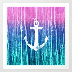 Nautical Anchor Pink Teal Watercolor Stripes Drips Art Print by Girly Road