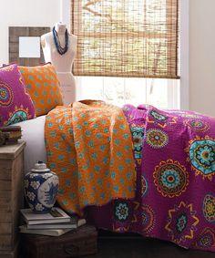 Very pretty quilt! Fuchsia Adrianne Quilt Set #zulilyfinds