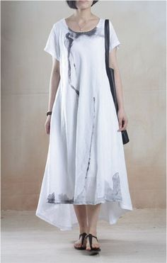 Linen Dress with Batik Print in White