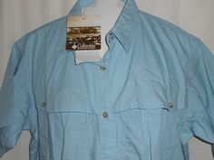 NEW-COLUMBIA Vented Shirt Women Size S Small Light Blue Button Up Short Slv--NWT #Columbia #ButtonDownShirt #CasualVented