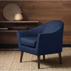 Add class to any living room or office space with this Grayson navy accent chair. This cozy midcentury styled fabric accent chair enhances the comfort of any professional setting and provides a clean Navy Blue Accent Chair, Navy Blue Decor, Navy Sofa, Accent Chairs For Living Room, Cozy Living Rooms, Chair Makeover, Bleu Marine, Dining Chairs, Dining Room