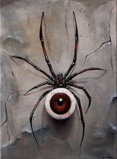 surreal art 40 of Million Reasons Why I Love Surrealism Art Foto Fantasy, Dark Fantasy Art, Dark Art, Spider Drawing, Spider Art, Eyeball Drawing, Arte Horror, Horror Art, Creepy Art