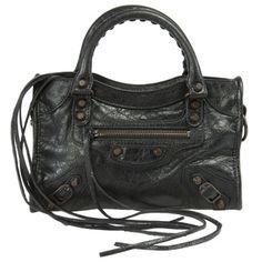 Balenciaga Classic City Lambskin Bag in Black w/ Aged Brass Hardware Size Medium | Overstock.com Shopping - The Best Deals on Designer Handbags