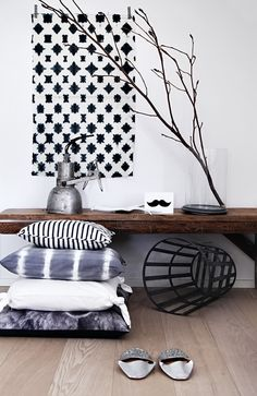love the colours, tree branch , bench seat Interior Architecture, Interior And Exterior, Interior Design, Scandinavian Cushions, Linens And More, Moroccan Decor, My Living Room, Home Textile, Home Fashion