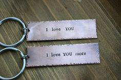 Couples Keychain set  I love you more & I love you by BeachCoveJewelry