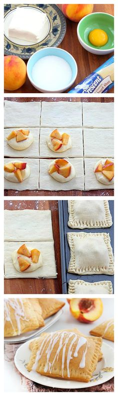 Buttery, flaky crescent pockets of sweet peaches and cream for summer!