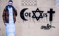 À l'occasion d'un concours organisé par un musée autour du dialogue et de la tolérance, le graphiste polonais Piotr Mlodozeniec invente le logo « Coexist »