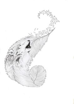 wolf Tatto comission by on DeviantArt - I like the curvature of this feather and LOVE the birds flying off in a swirl. Wolf Tattoo Design, Tattoo Wolf, Small Wolf Tattoo, Tattoo Designs, Music Tattoos, Body Art Tattoos, Tatoos, Bird Tattoos, Wrist Tattoos
