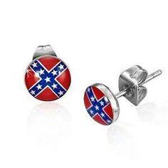 Rebel flag ear rings