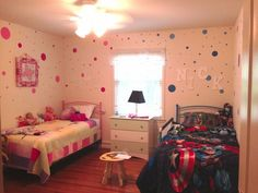 Boy and girl bedroom - blue and pink polka dots!
