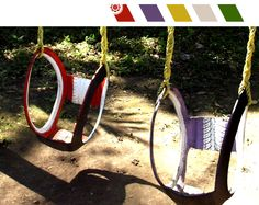 Cut out and swing. These tire swings look easy to make.