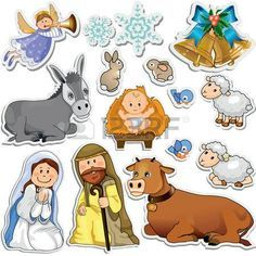 Buy Nativity Scene Stickers by iostephy on GraphicRiver. Set of Christmas stickers representing the characters of the holy family-Gradient Christmas Doodles, Christmas Stickers, Crochet Christmas Ornaments, Nativity Ornaments, Christmas Nativity, Felt Ornaments, Free To Use Images, Birth Of Jesus, Wishes Images