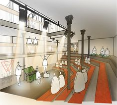 Malt Cross Market by Ruth Spring, via Behance Architecture Collage, Architecture Drawings, Landscape Architecture, Interior Architecture, Interior Rendering, Interior Sketch, Conceptual Sketches, Perspective Drawing, Concept Diagram