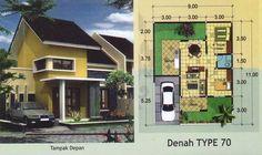 Denah dan Desain Rumah Type 70 Model Minimalis #1
