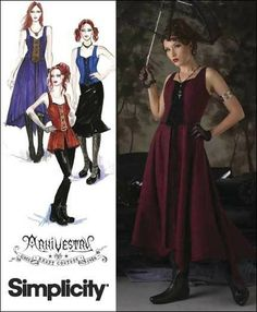 Plus Size Goth, Steampunk, Victorian Dress Costume Sewing Pattern Simplicity 2757, sizes 14 to 22 uncut. $7.00, via Etsy.