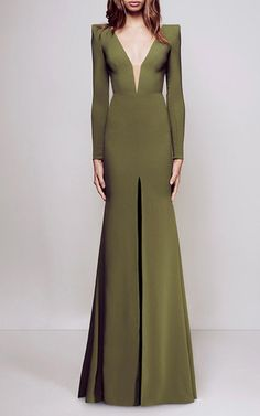 Francoise Open V Satin Crepe Long Sleeve Fishtail Gown by ALEX PERRY for Preorder on Moda Operandi
