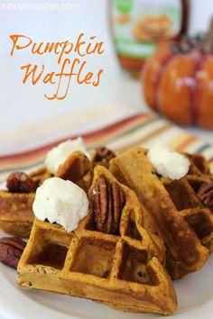 Pumpkin Waffle Recipe. The perfect fall breakfast. YUM!